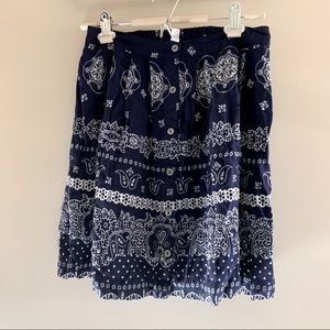 Xhilaration | Navy Blue Paisley Button Mini Skirt